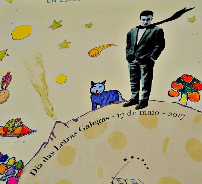 Cartel do Día das Letras Galegas 2017 en el que Carlos Casares aparece como el Principito