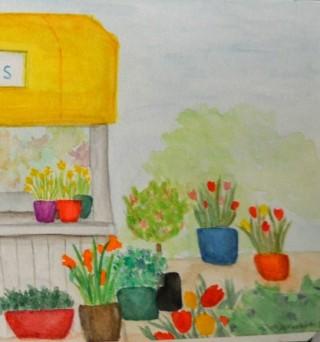 Oleo de macetas con flores