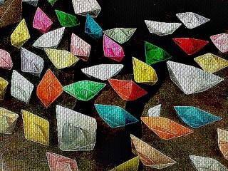 conxunto de barcos de texidos de cores